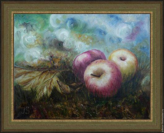 """Натюрморт ручной работы. Ярмарка Мастеров - ручная работа. Купить Картина """"Яблочный спас"""". Handmade. Ярко-красный, желтый, зеленый"""