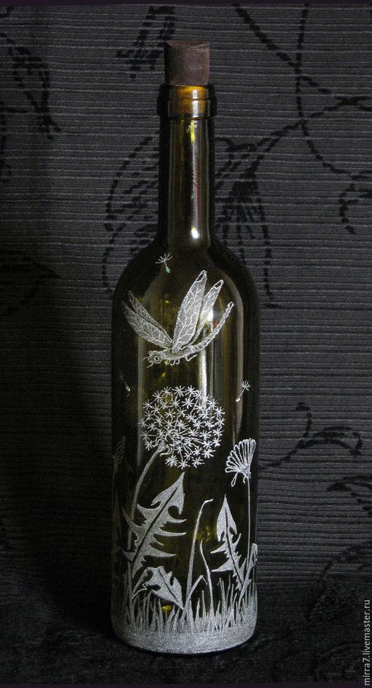 Декоративные бутылки с алмазной гравировкой `Стрекоза` Пробковая крышка, обтянутая натуральной кожей