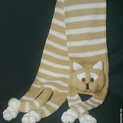 Одежда детская handmade. Livemaster - original item Knitted cat scarf, Knitted scarf, Animal scarf, Cat scarf, Knit scarf. Handmade.