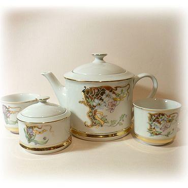 """Посуда ручной работы. Ярмарка Мастеров - ручная работа Чайный сервиз """"Модерн"""" с монограммой. Сервиз с инициалами.. Handmade."""