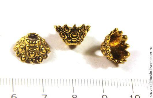 Для украшений ручной работы. Ярмарка Мастеров - ручная работа. Купить Пара шапочек для бусин, вензеля,  цвет античное золото, размер 13х. Handmade.