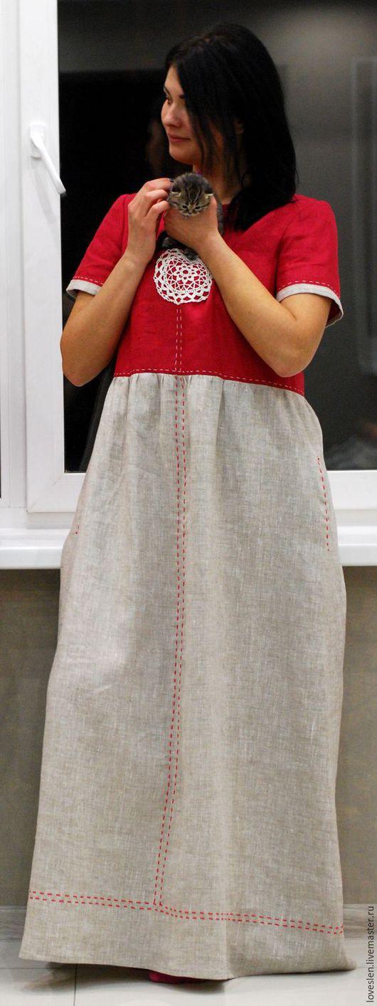 """Платья ручной работы. Ярмарка Мастеров - ручная работа. Купить Платье из льна """"Летняя заря"""". Handmade. Русский стиль"""