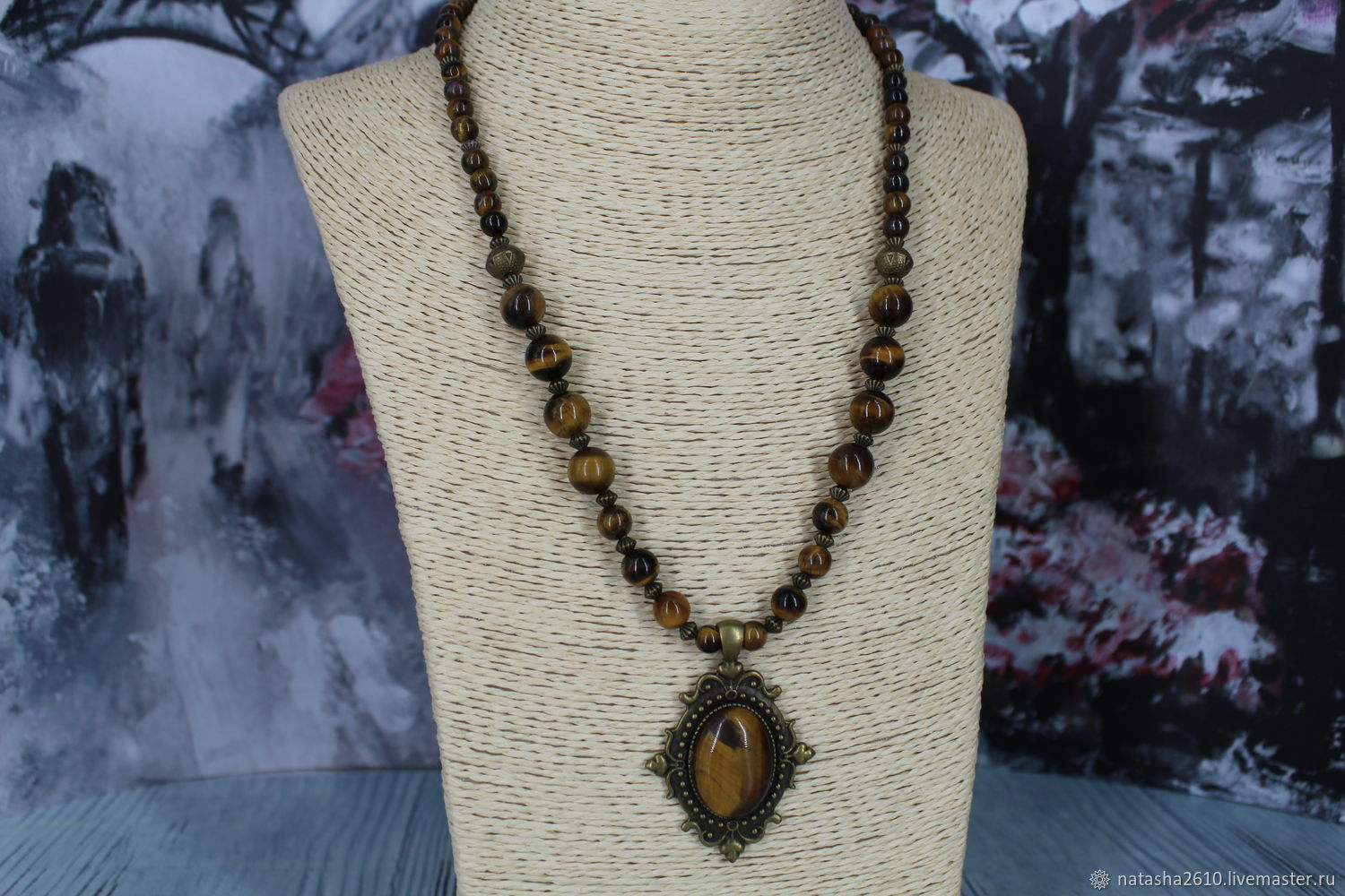Necklace with pendant made of natural stones tiger's eye, Necklace, Velikiy Novgorod,  Фото №1