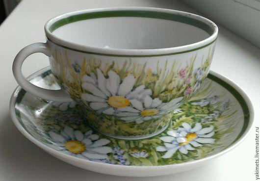 Сервизы, чайные пары ручной работы. Ярмарка Мастеров - ручная работа. Купить В ромашках (чайные пары). Handmade. Белый