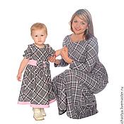 Одежда ручной работы. Ярмарка Мастеров - ручная работа Платья для мамы и дочки в клетку, комплект. Handmade.