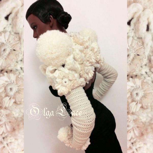 Bolero & Shrug Clothing handmade. Livemaster - handmade. Buy Knitted Bolero 'Pompons' from Olga Lace.Ecru, yarn