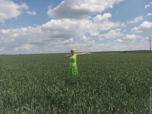 """Платья ручной работы. Ярмарка Мастеров - ручная работа. Купить Платье летнее """" Ананас"""". Handmade. Ярко-зелёный"""