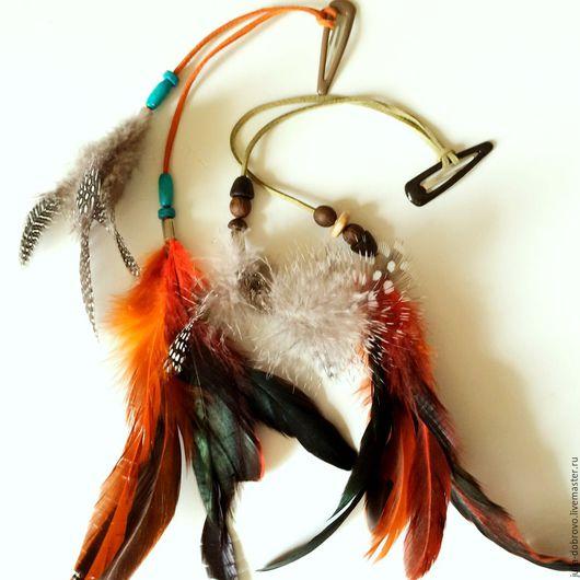 Диадемы, обручи ручной работы. Ярмарка Мастеров - ручная работа. Купить Украшение с перьями для волос. Handmade. Оливковый, бохо
