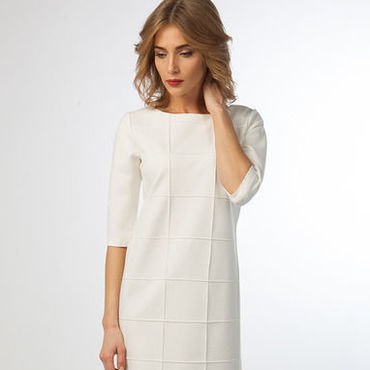 Одежда ручной работы. Ярмарка Мастеров - ручная работа Платье 1001 из итальянского джерси белое. Handmade.