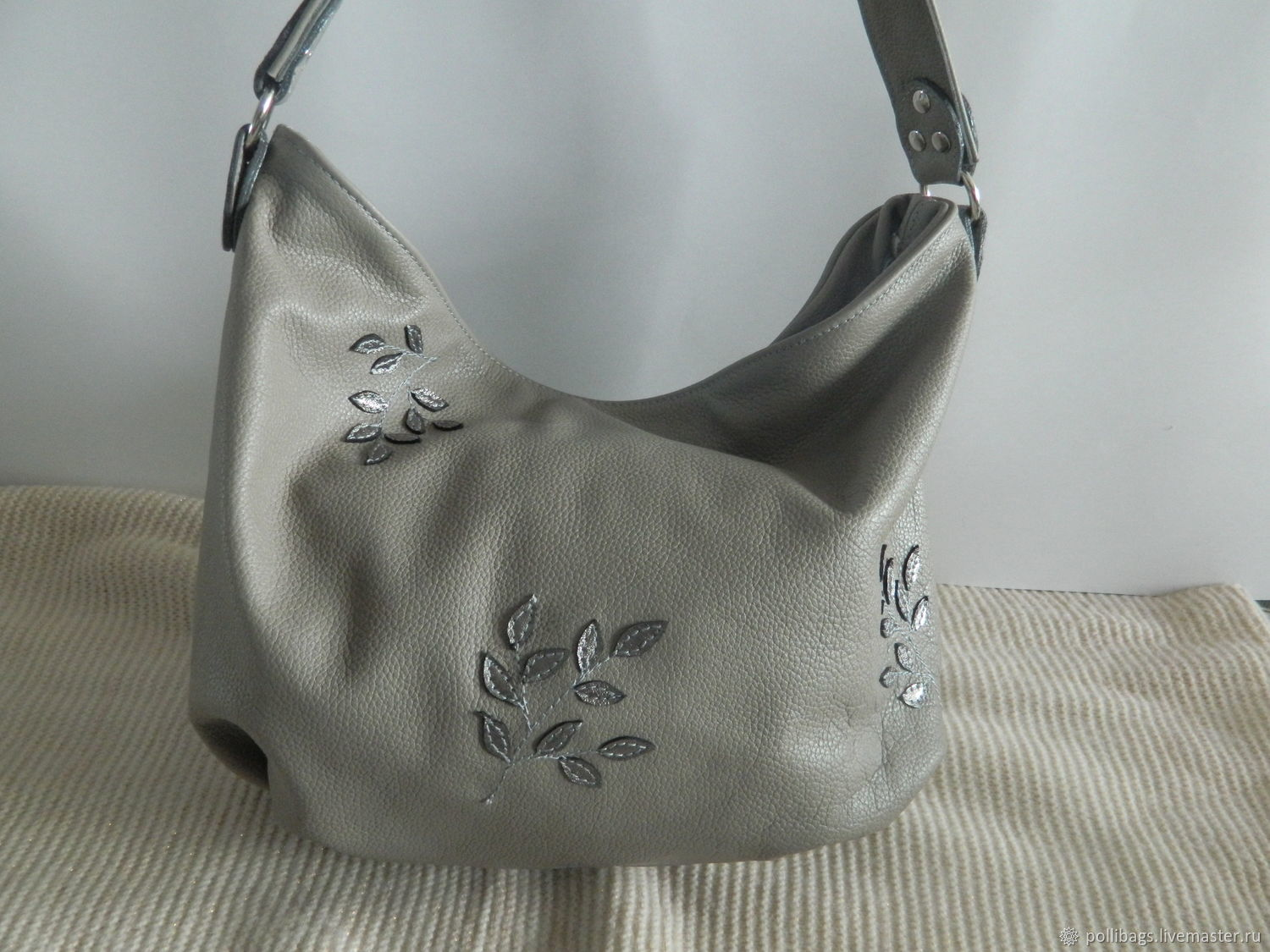 Handbags handmade. Livemaster - handmade. Buy Leather women's bag hobo Grey silver twigs.Bag, bag python