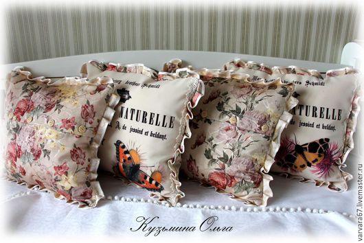 Текстиль, ковры ручной работы. Ярмарка Мастеров - ручная работа. Купить винтажные подушки бабочки. Handmade. Разноцветный, винтажный стиль
