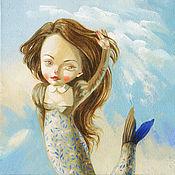 Картины и панно ручной работы. Ярмарка Мастеров - ручная работа Картина Колечко на память. Русалка. Handmade.