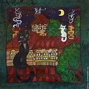 Подушки ручной работы. Ярмарка Мастеров - ручная работа Наволочка на подушку с рисунком с котами шелковая наволочка 50 на 50. Handmade.