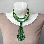 Украшения handmade. Livemaster - original item Elegant green necklace. Stylish decoration on the neck. necklace. Handmade.