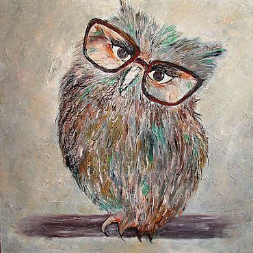 """Картины и панно ручной работы. Ярмарка Мастеров - ручная работа Картина с птицей """"Ученая сова"""" - картина маслом. Handmade."""