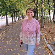 Одежда ручной работы. Ярмарка Мастеров - ручная работа Бело-розовый зефир, свитер спицами. Handmade.