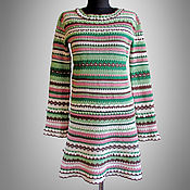 Одежда handmade. Livemaster - original item Crochet dress Nicoletta. Multicolor handmade tweed striped dress. Handmade.