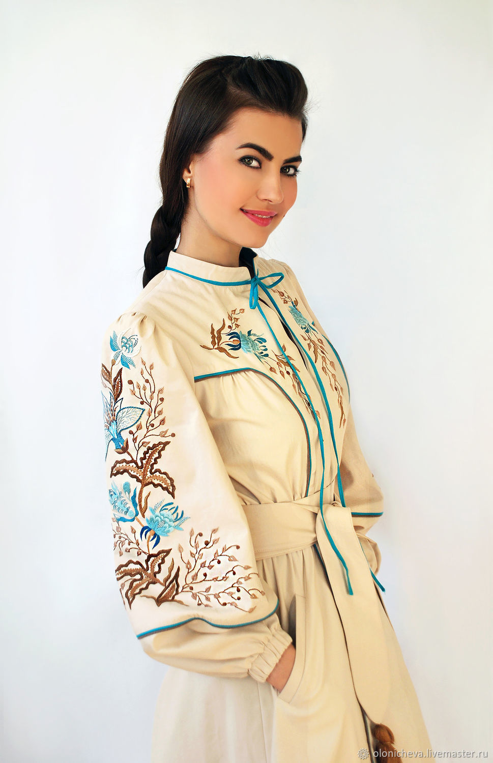 Luxurious dress in ethnic style 'Turquoise' hand embroidery, Dresses, Vinnitsa,  Фото №1
