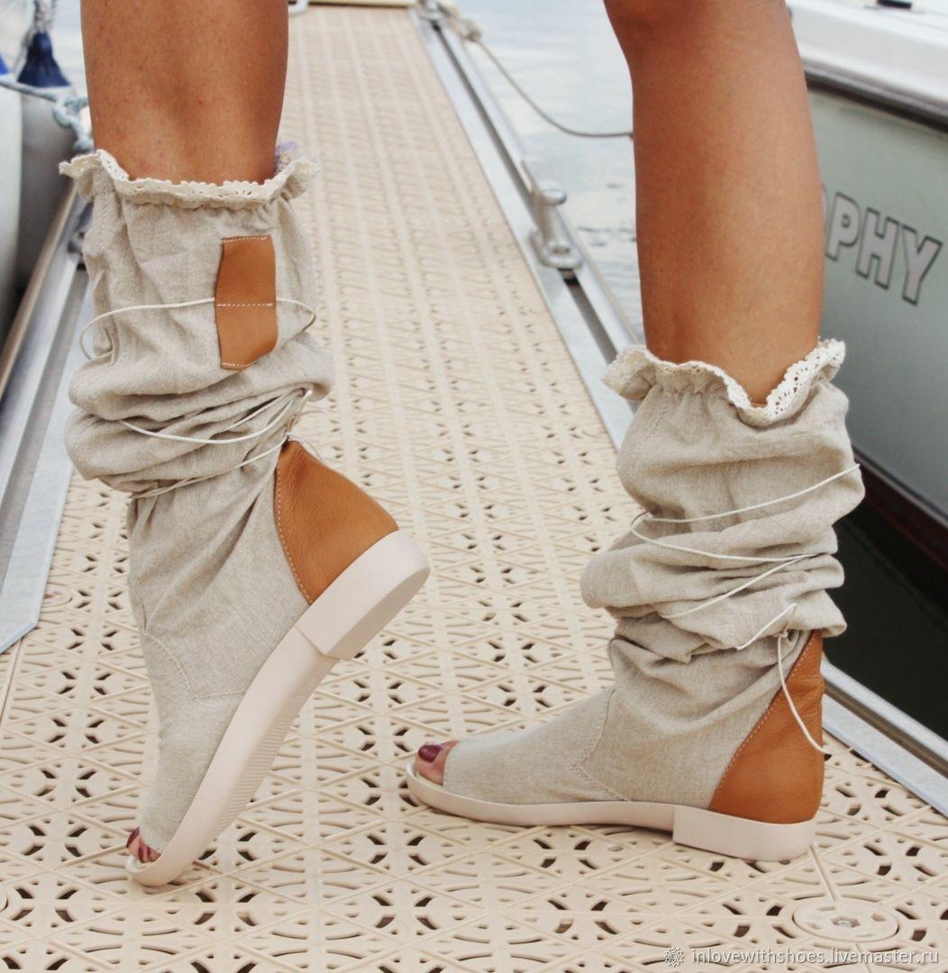 8052c4308 Обувь ручной работы. Ярмарка Мастеров - ручная работа. Купить Летние сапоги  льняные на платформе