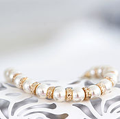 Свадебный салон ручной работы. Ярмарка Мастеров - ручная работа 765 Браслет из жемчуга Сваровски, золотой жемчужный кремовый браслет. Handmade.