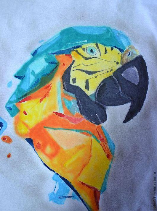 Футболки, майки ручной работы. Ярмарка Мастеров - ручная работа. Купить футболка попугай. Handmade. Рисунок, роспись футболок, подарок