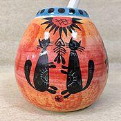 Calabash handmade. Livemaster - original item Calabash Kittens with Bombilia porcelain (author painting). Handmade.