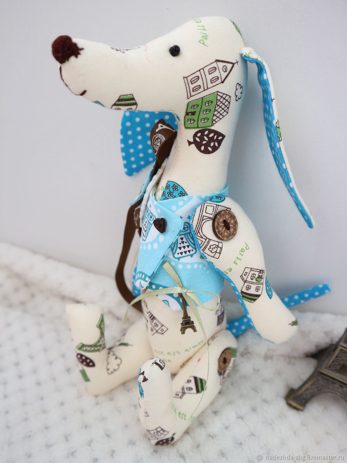 Dachshund dog toy, textile dog made of flax, Stuffed Toys, Ekaterinburg,  Фото №1