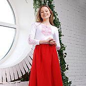 Одежда handmade. Livemaster - original item Skirt red with lace. Handmade.