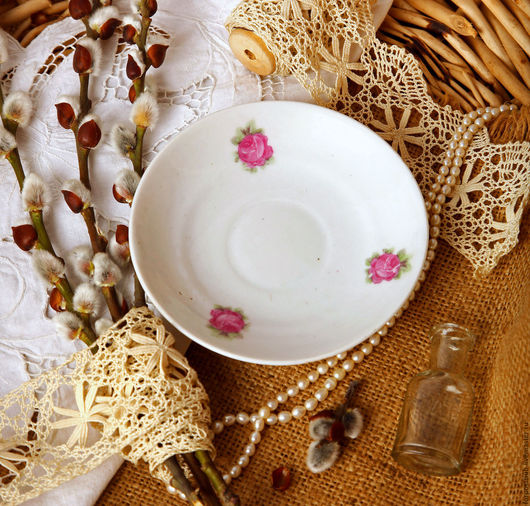 Винтажная посуда. Ярмарка Мастеров - ручная работа. Купить Блюдце с розочками, 20-е годы. Handmade. Комбинированный, Блюдце, розочки