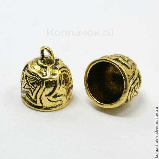 Для украшений ручной работы. Ярмарка Мастеров - ручная работа. Купить Колпачок для жгутов, 12 мм внутренний диаметр, цвет золото. Handmade.