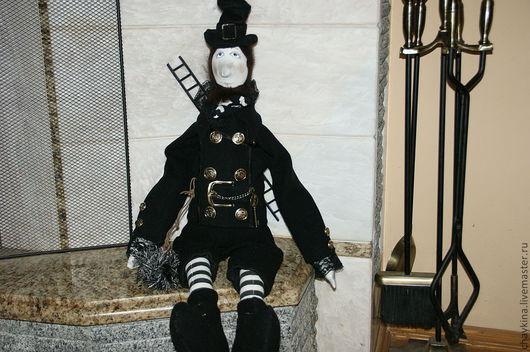 Коллекционные куклы ручной работы. Ярмарка Мастеров - ручная работа. Купить Трубочист Урмас. Handmade. Черный, интерьерная игрушка, трикотаж