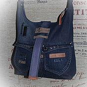 Сумки и аксессуары ручной работы. Ярмарка Мастеров - ручная работа Джинсовая сумка через плечо 15. Handmade.
