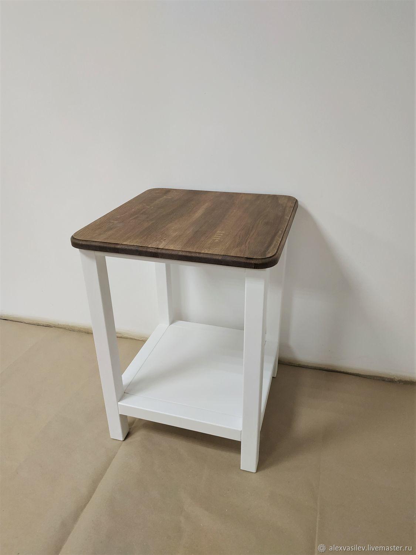 "Furniture handmade. Livemaster - handmade. Buy Столик прикроватный белый ""Берген"" с дубовой столешницей.White, table, bedside table, console"