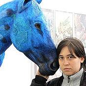 Для дома и интерьера ручной работы. Ярмарка Мастеров - ручная работа Скульптура лошадь трофейная голова Год Синей Лошади. Handmade.