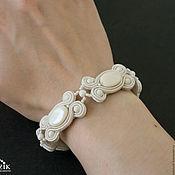 Свадебный салон handmade. Livemaster - original item Soutache wedding bracelet for the bride with mother of pearl and pearls. Handmade.