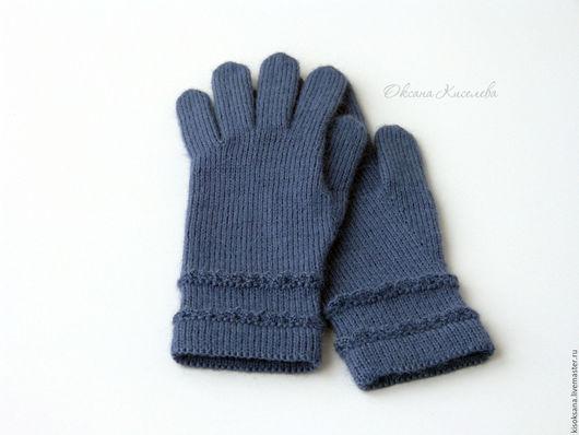 Варежки, митенки, перчатки ручной работы. Ярмарка Мастеров - ручная работа. Купить Перчатки вязаные женские синие. Handmade. Перчатки