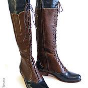 Обувь ручной работы. Ярмарка Мастеров - ручная работа Высокие ботинки на шнуровке. Handmade.