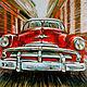 """Город ручной работы. Ярмарка Мастеров - ручная работа. Купить Серия """"Автомобили"""" №4. Handmade. Ярко-красный, картина в подарок"""