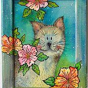Картины и панно ручной работы. Ярмарка Мастеров - ручная работа картина в рамке Котик в цветах Картина в бирюзовых тонах. Handmade.