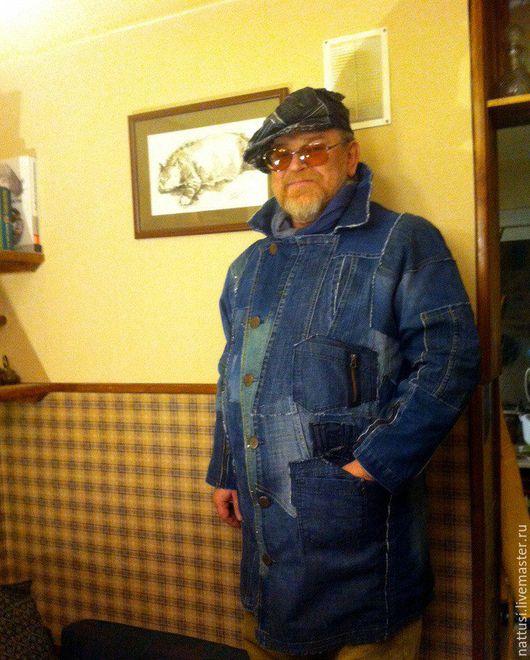 """Верхняя одежда ручной работы. Ярмарка Мастеров - ручная работа. Купить Мужской плащ джинсовый """"Счастливый"""". Handmade. Тёмно-синий"""