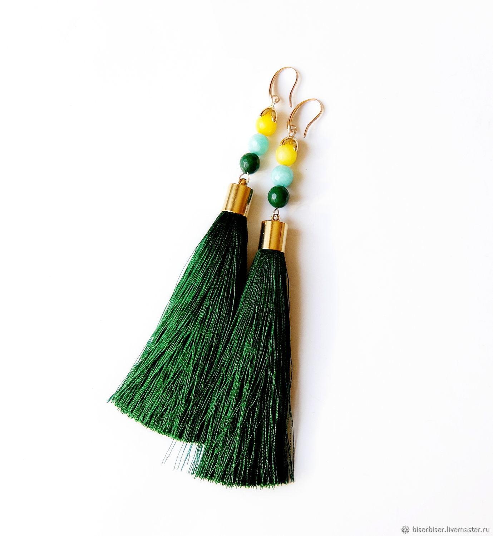 """Earrings-brushes """"July"""", Tassel earrings, Moscow,  Фото №1"""
