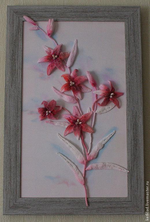 Картины цветов ручной работы. Ярмарка Мастеров - ручная работа. Купить Лилии. Handmade. Коралловый, плетение, атласный холст