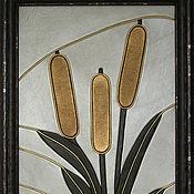 """Картины и панно ручной работы. Ярмарка Мастеров - ручная работа картина из кожи """"Камыши"""". Handmade."""