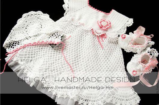 """Одежда для девочек, ручной работы. Ярмарка Мастеров - ручная работа. Купить Комплект """"Розалия""""-платье ,чепчик и пинетки.. Handmade. Белый"""