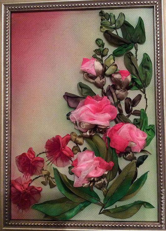 Картины цветов ручной работы. Ярмарка Мастеров - ручная работа. Купить Розы,фуксии.. Handmade. Вышивка лентами, шёлк натуральный
