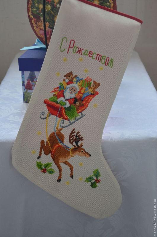 Носок (сапожок) для подарков `С Рождеством`. Подарок для родных и близких. Декор интерьера. Новый год. Рождество.