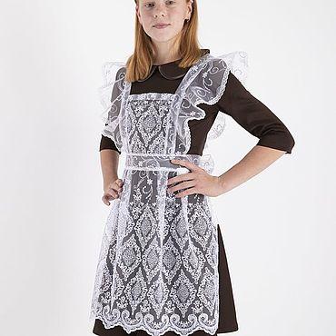 Товары для малышей ручной работы. Ярмарка Мастеров - ручная работа Коричневое платье и белый гипюровый фартук, 15-084к (платье, пришивной. Handmade.