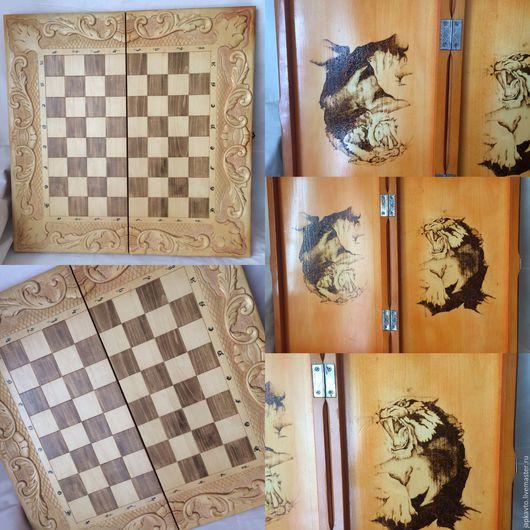 Настольные игры ручной работы. Ярмарка Мастеров - ручная работа. Купить Шахматы нарды шашки деревянные резные 4 в 1. Handmade.