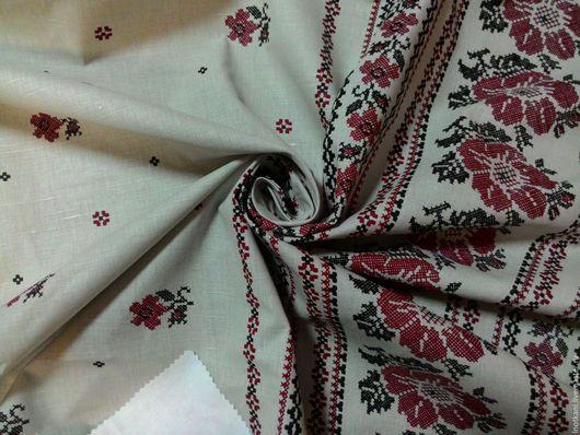 """Шитье ручной работы. Ярмарка Мастеров - ручная работа. Купить Ткань льняная """"Розы вышивкой"""" на грунте. Handmade. Лен с рисунком"""