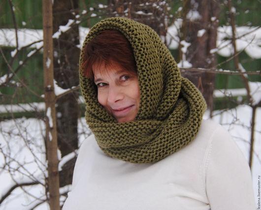 """Шарфы и шарфики ручной работы. Ярмарка Мастеров - ручная работа. Купить Снуд-шарф цвета хаки  """"Защитный"""" (полушерсть). Handmade."""